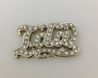 "Vintage ""Lola"" Diamond Studded 18K White and Yellow Gold Name Plate Pendant,gold name plate Lola,"