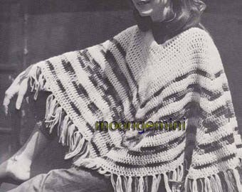 Crochet Poncho in Two Colors Easy-to Make Pattern PDF Vintage Hippie Girl Retro 60s