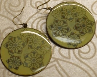 Round Enamel Disc With A Mandala Flower Design Earrings
