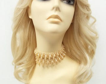 17 inch Light Blonde Long Wavy Wig w/ Bangs. Heat Resistant Synthetic Fashion Wig [99-487-Silvia-613]