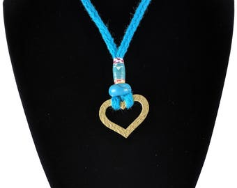 SoulHara Knitted Necklace & or Eyeglass/Sunglass Holder (Turquoise cord and Textured Brass Heart Pendant)