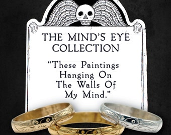 Memento Mori Ring - Wedding Band - Georgian Style - Gold - Sterling Silver - Skull - Choose Your Metal - The Minds Eye Collection