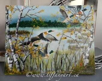 Mallard duck oil painting, Mallard duck painting, original painting, oil painting, original painting,landscape oil painting,mallard duck art