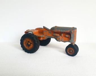 Vintage Toy Tractor . Orange Metal Tractor . Die Cast Toy Tractor . Antique Farm Toy Tractor . Farmhouse Style . Industrial Decor .