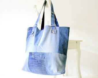 XXL denim bag with pink lining white beach bag jeans bag