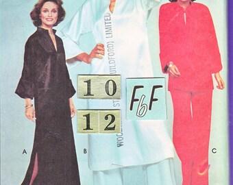 1970's Pullover Caftan Dress, Tunic Top Sewing Pattern/ McCall's 5331 Womens slit neckline Long Hippie Dress, UnCut/ Size 10 12
