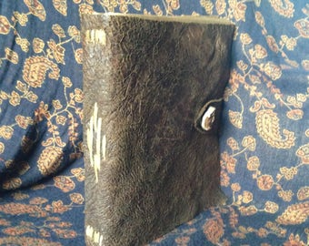 """Large 8"""" X 9"""" Bark-Tan Leather Bound Notebook"""