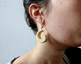Wooden earrings, little small white swirls in wood, yew wood wisps