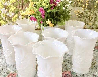 Milk Glass Vases Wedding Vases Wedding Centerpiece White Vases Wedding Decor Party Centerpiece Star Pattern Bridal Shower Sold Individually