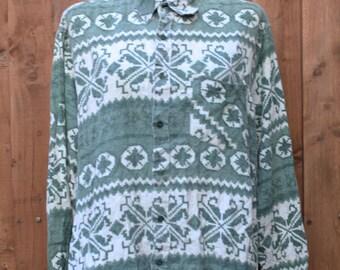 Oversized Green & Cream Fairisle Shirt