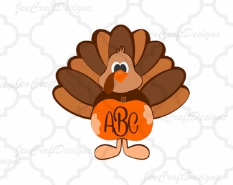 Fall Turkey SVG, EPS, Png, DXF, Fall Pumpkin Monogram Frame Cut files for Cricut, Silhouette, Vinyl Cutters and Screen Printing Cut Files