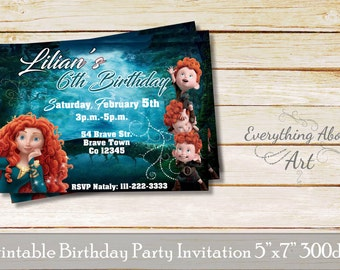Brave invitation Merida, Princess Merida invitation, Brave theme birthday party, Princess Merida birthday party, Brave printable invite