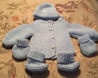 Knit Newborn Baby 5 Piece Sweater Set