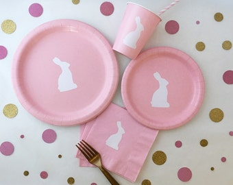 Bunny Party Pack - Bunny Party - Bunny Birthday Party - Rabbit Birthday - Somebunny is turning one - Easter Bunny - Bunny Paper Plates - Cup