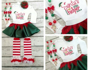 Girls Christmas outfit - elf outfit - Santa's helper - baby Christmas outfit