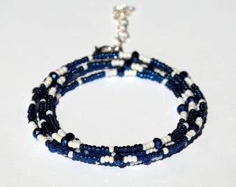 Dark blue bracelet Beaded Wrap bracelet bohemian Beaded bracelet Royal blue bracelet Deep blue Beaded jewelry bracelet Stacking bracelet