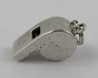 Referee's Whistle Mechanical Sterling Silver Vintage Charm For Bracelet