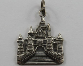 Sleeping Beauty's Castle at Disneyland in Hong Kong Sterling Silver Vintage Charm For Bracelet