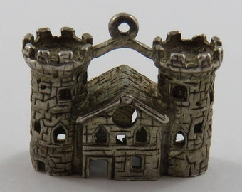 Castle Sterling Silver Vintage Charm For Bracelet
