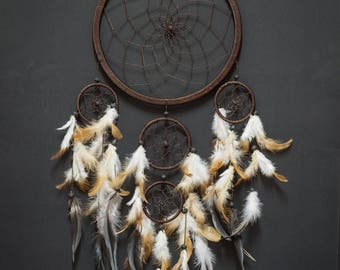 Dream Catcher Large Brown Boho Handmade Wall Decor Wall Hanging Home Decor Ornament Feathers 5 Ring Circle 25 inches