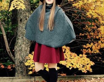 100% Cotton Women's Poncho / Grey / One Size