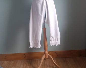 Victorian drawers, bloomers or pantaloons good condition white cotton with crochet lace hem split crotch small medium size crotchless pants