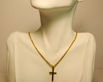 Small Goldtone Cross and Necklace     (#558)