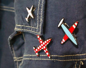 Kawaii Airplane Pin: Polka Dot/ Stripe Airplanes 3 PC Set