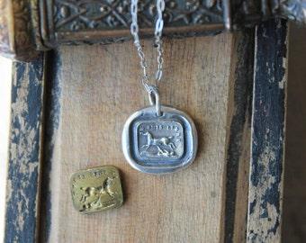 Horse wax seal fine silver charm