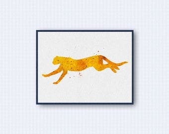 Cheetah Watercolor Poster