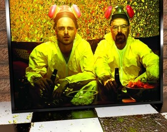 Jesse Pinkman And Walter White Yellow Jump Suits Painting Poster Print - Breaking Bad - Aaron Paul - Bryan Cranston - Breaking Bad Art