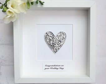 Personalised wedding gift, heart wall art, silver heart, wedding frame, wedding gift, anniversary gift, engagement gift, house warming gift