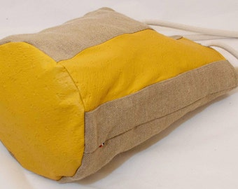 Bucket HandBag-Linen and leather shoulderbag-Bucket Bag-Boho purse-French design-Summer Everyday bag.