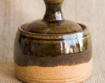 deep olive green & oatmeal handmade ceramic small covered jar