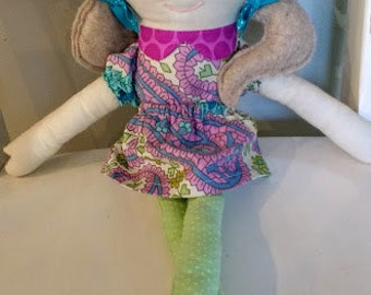 2 Long Pigtails Style Doll--- Handmade personalized doll ---Custom made to look like your child--- Rag doll--- Fabric Doll