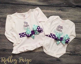 Personalize Big Sister and Little Sister Matching Outfit, Monogram Girls Sibling Set, Big Sister Shirt, Little Sister Onsie, Purple Aqua