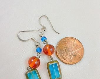 Blue and Orange Czech Beaded Dangle Earrings