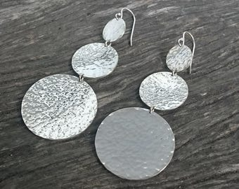 Hammered Silver | Statement Earrings | Textured Silver | Simple Modern Earrings | Argentium Silver Earrings | Contemporary Earrings | Boho