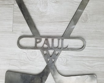 Hockey Sticks With Name (Home Decor, Wall Art, Metal Art, {Can Be Personalized})