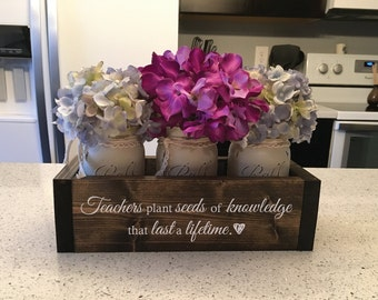 Personalized Teacher Gift | Teacher Appreciation | Teacher Retirement | Gifts for Teachers | Principal Retirement | Engraved Planter w/ Jars