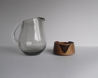 Whitefriars Pinch-top Smoked Glass Jug, with Wooden Swedish Style Stacking Coaster set.