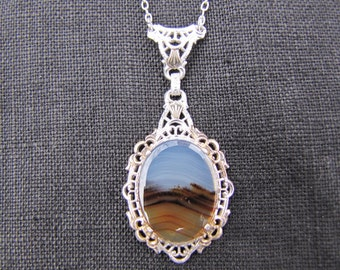 Victorian sterling silver and Montana agate necklace