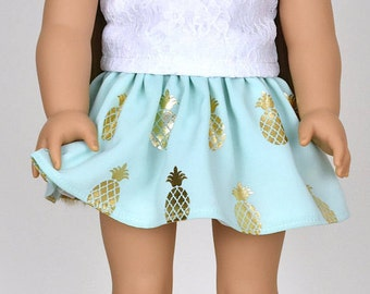 Skirt 18 inch doll clothes Pineapple Mint Gold