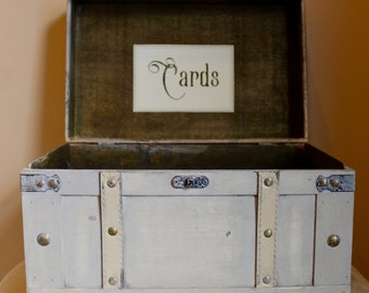Wedding Card Trunk / Wedding Card Box / Vintage Wedding / Rustic Card Holder / Gray and Ivory Trunk / Wooden Card Box /