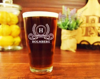 Engraved Pint Glass, Personalized Beer Glass, Custom, Family Name and Crest, Last Name, Initial, Monogram, Wedding, Anniversary, Birthday