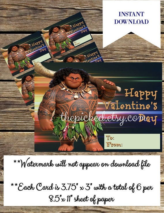 Printable Disney Moana Personalized Valentines Day Card to Print