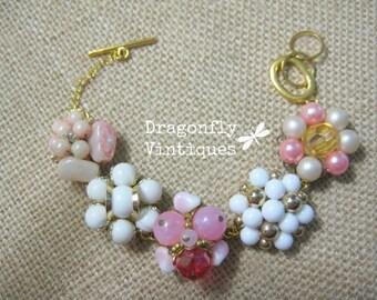 Vintage Bracelet, Repurposed Jewelry, Vintage Earrings, Wedding, Recycled jewelry, Upcycled Jewelry, Reclaimed, Pink White, one of a kind/40
