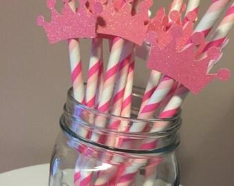Princess Pink Glitter Crown Striped Paper Straws 12CT