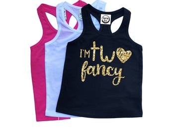 I'm TWO Fancy - Second Birthday - Birthday Girl - Birthday Tank Top - TWO - Toddler Birthday - Toddler Girl - Summer Tank Top - Glitter