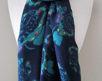 Cobalt blue long scarf with cyan flowers - cotton scarf for fall and winter, thicker scarf for warmth, mother's day gift